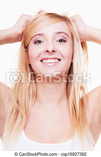Attractive young blonde woman portrait isolated - csp16927392