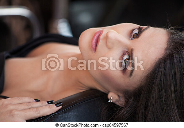attractive young brunette caucasian woman portrait - csp64597567
