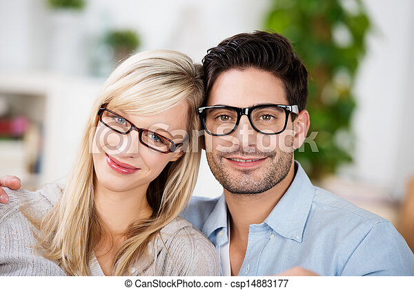 Attractive young couple wearing glasses - csp14883177