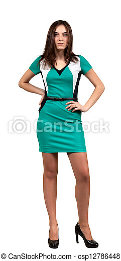 Attractive Young Woman in Green Dress - csp12786448