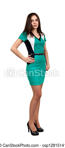 Attractive Young Woman in Green Dress - csp12815141