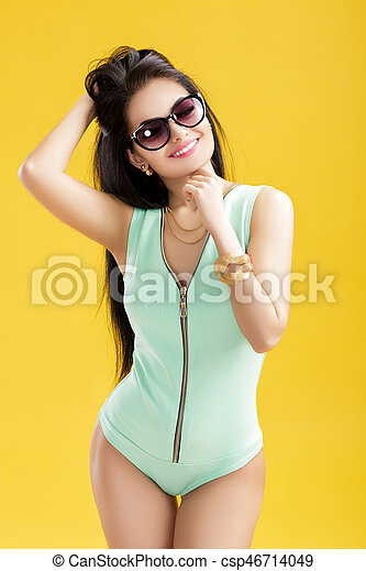 Attractive yellow sexy girl and old