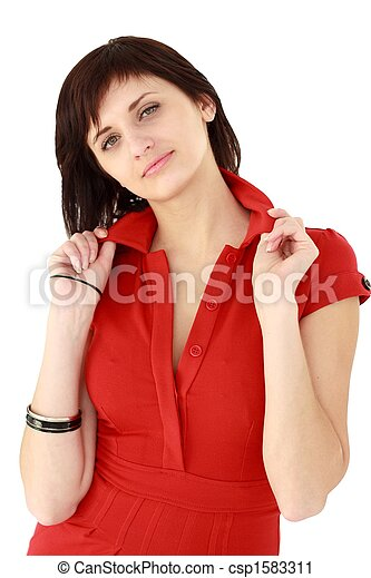 Attractive young woman in red dress - csp1583311