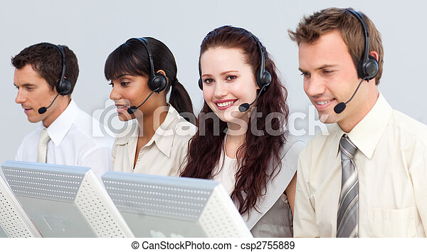 Attractivel woman working in a call center - csp2755889