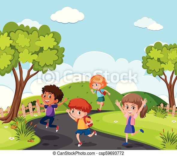 attraverso, correndo, parco, bambini - csp59693772