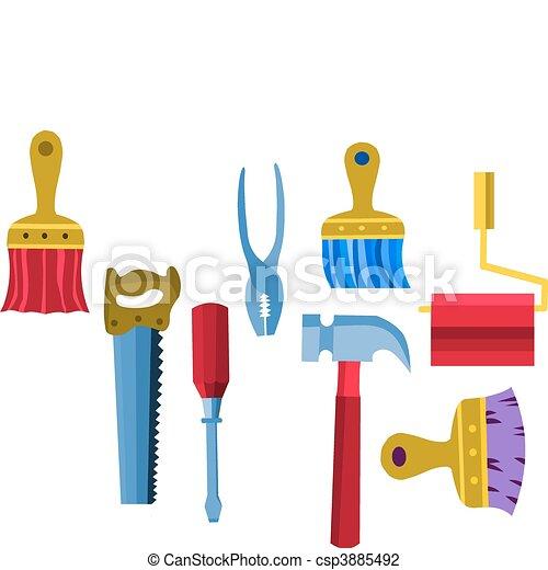 attrezzi, lavoro, collezione, vettore, illustrazione, -2 - csp3885492