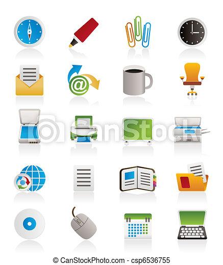attrezzi, ufficio affari, icone - csp6536755