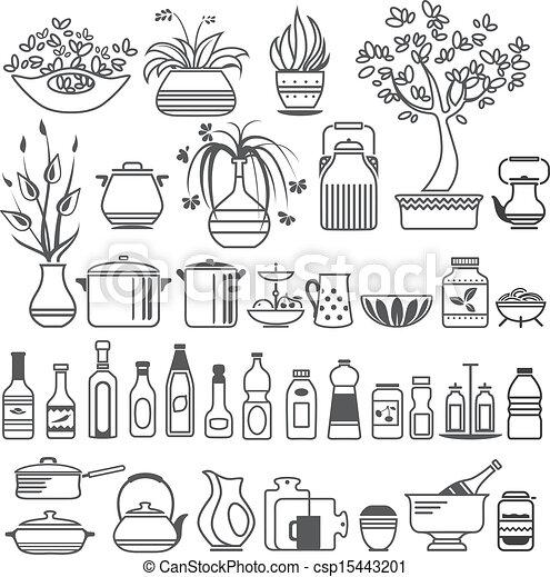 Attrezzi, vettore, utensils., illustrazione, cucina.