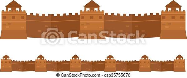 Gran muro chino viejos atributos famosos de arquitectura. - csp35755676