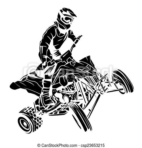 atv, cavaleiro, moto - csp23653215