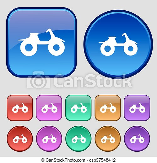 ATV icon sign. A set of twelve vintage buttons for your design. Vector - csp37548412