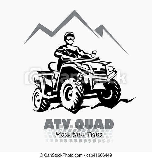 atv, quad bike stylized silhouette vector symbol, design element for logo or emblem - csp41666449