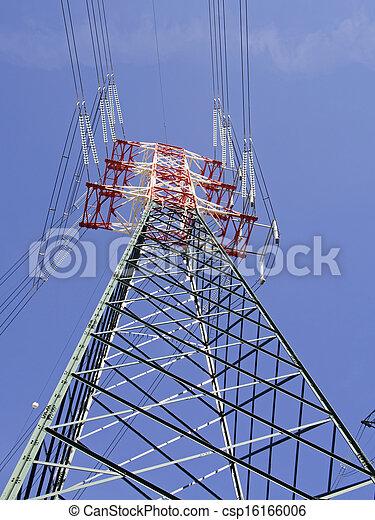 au-dessus, haute vue, pylônes, tension - csp16166006
