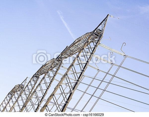 au-dessus, haute vue, pylônes, tension - csp16166029