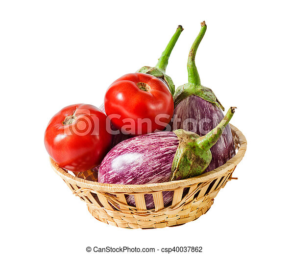 Aubergines and tomatoes in basket isolated on white background - csp40037862