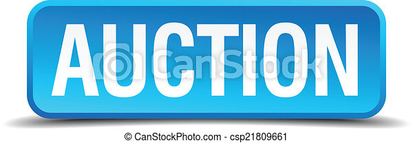 Auction blue 3d realistic square isolated button - csp21809661