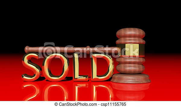 Auction concept with wooden gavel - csp11155765