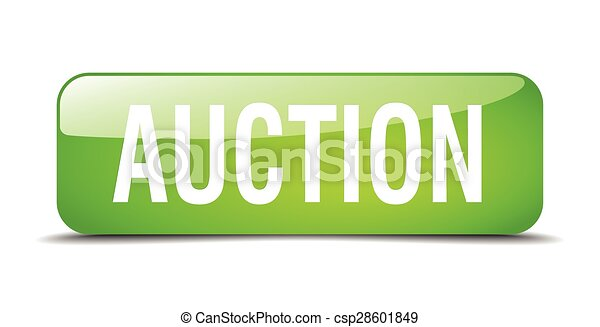 auction green square 3d realistic isolated web button - csp28601849