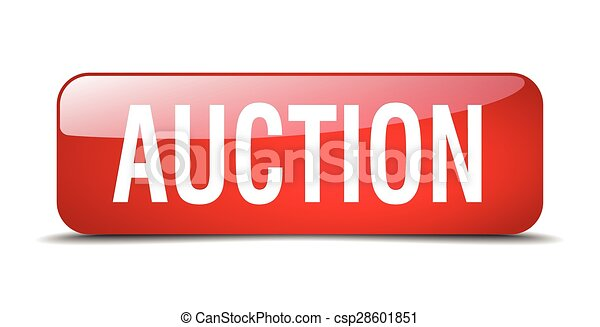 auction red square 3d realistic isolated web button - csp28601851