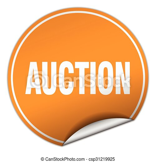 auction round orange sticker isolated on white - csp31219925