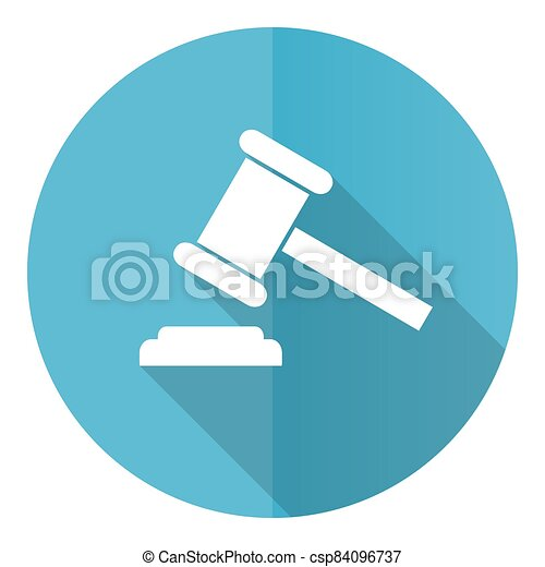 Auction vector icon, flat design blue round web button isolated on white background - csp84096737
