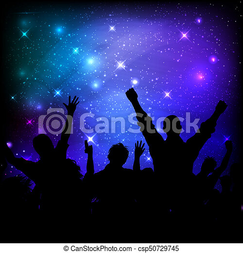 audience, ciel, galaxie, fond, nuit - csp50729745