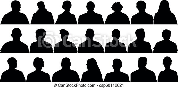 Audience Cinema Theater Crowd Of People In The Auditorium Silhouette Vector Isolated