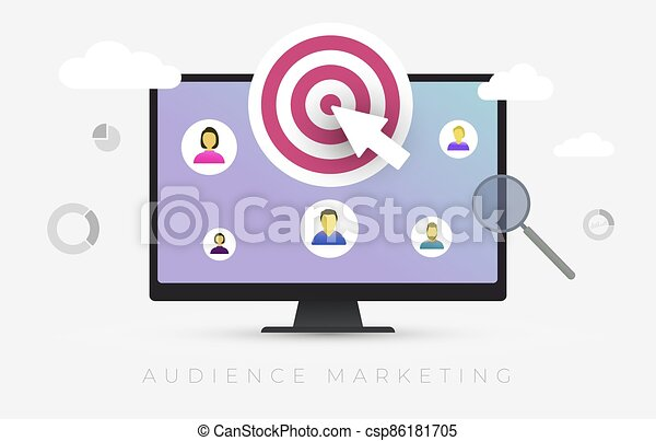 Audience Marketing segmentation. Target market, customer care, human resources recruit and customer analysis concept vector illustration - csp86181705