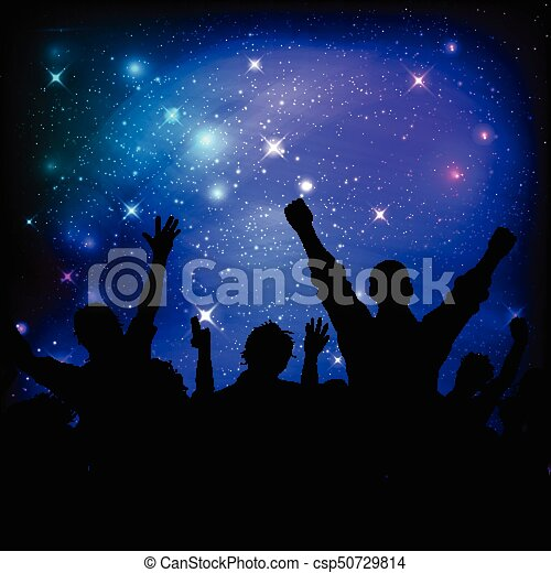 audience on galaxy night sky background 0208 - csp50729814