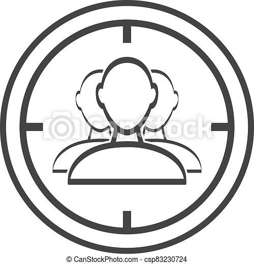 audiencias de blanco, icono, aislado, fondo blanco - csp83230724