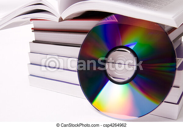 Audio book concept - pile of books and one cd - csp4264962