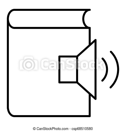 Audio book line vector icon, e learning and education, e book sign vector graphics, a linear pattern on a white background, eps 10. - csp68510580