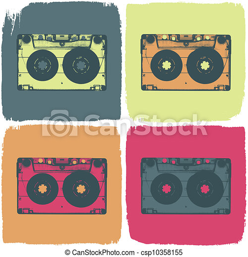 Audio cassette pop-art concept. Vector, EPS8 - csp10358155
