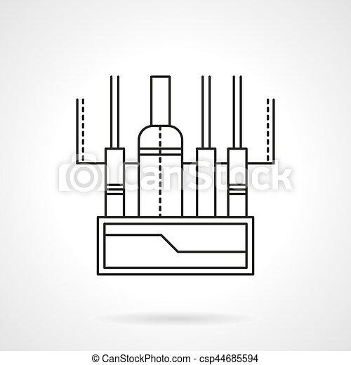 Audio mixing console flat line vector icon - csp44685594