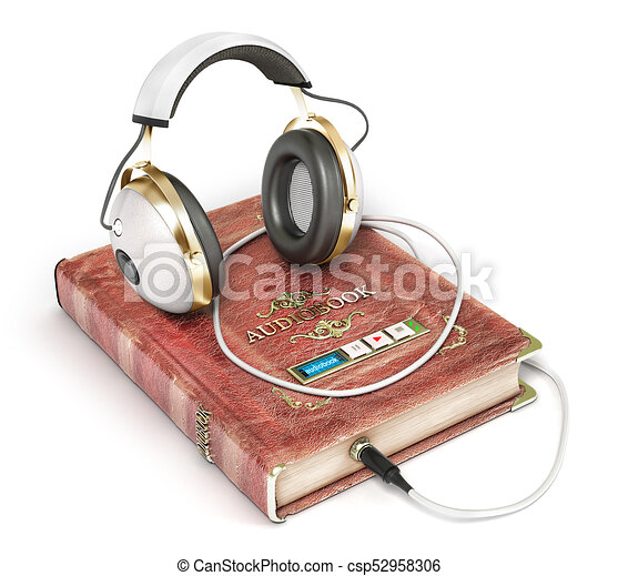 Audiobook concept. Book with headphones isolated on a white. 3d illustration - csp52958306