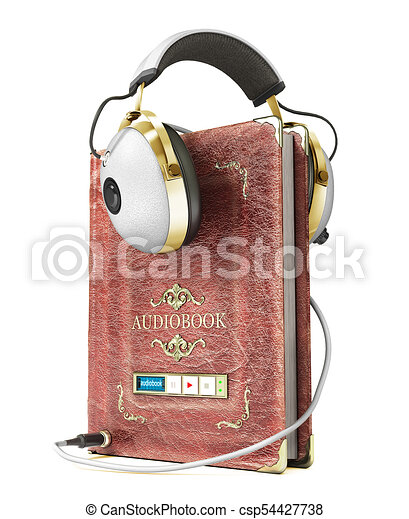 Audiobook concept. Book with headphones isolated on a white. 3d illustration - csp54427738