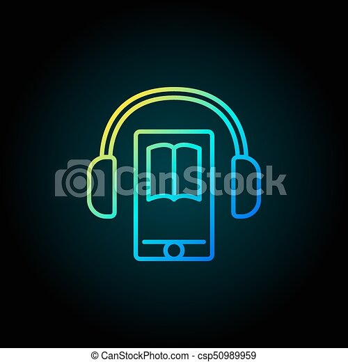 Audiobook in smartphone colorful icon - csp50989959