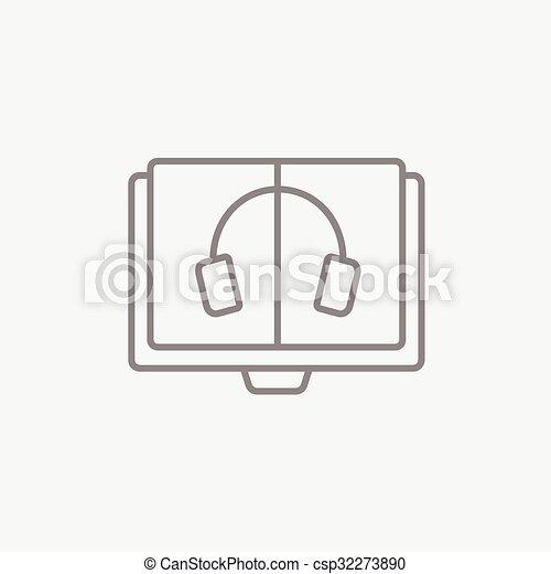 Audiobook line icon. - csp32273890