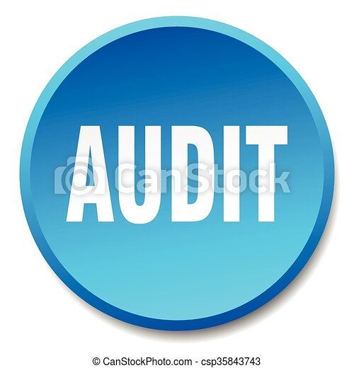 audit blue round flat isolated push button - csp35843743