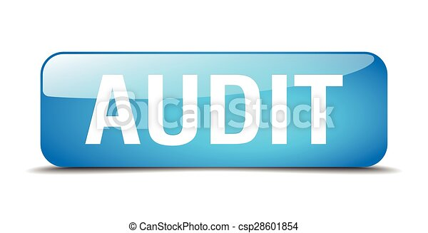 audit blue square 3d realistic isolated web button - csp28601854