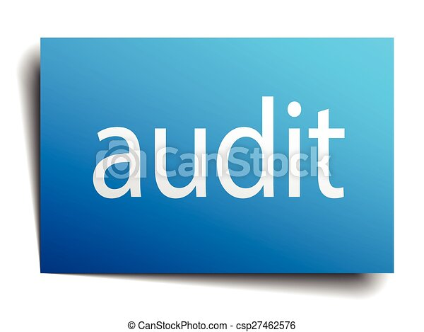 audit blue square isolated paper sign on white - csp27462576