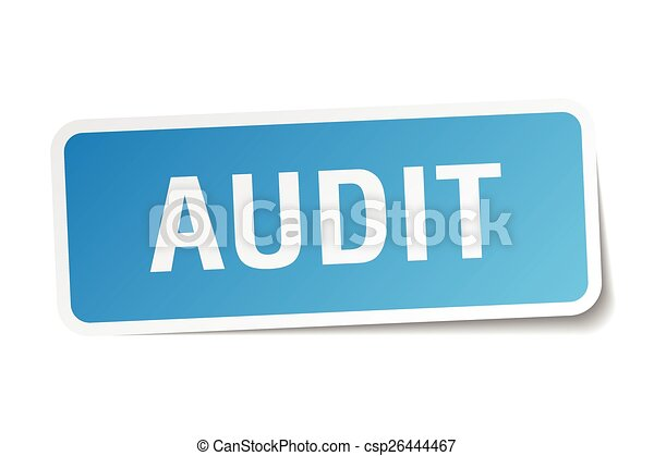 audit blue square sticker isolated on white - csp26444467