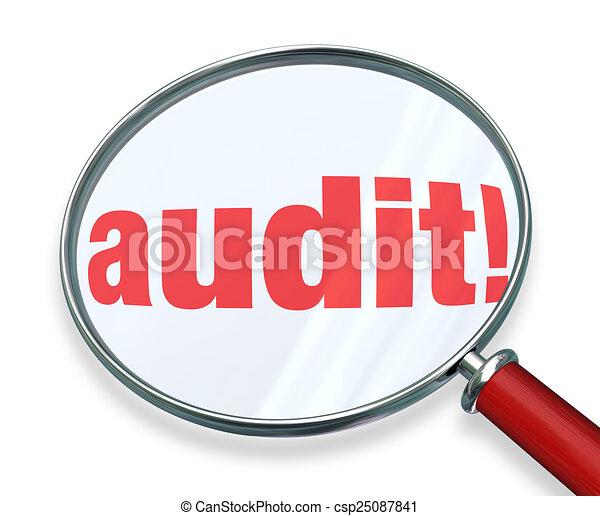 audit, comptabilité, mot, règles, impôt, verre, comptabilité, droit & loi, magnifier - csp25087841