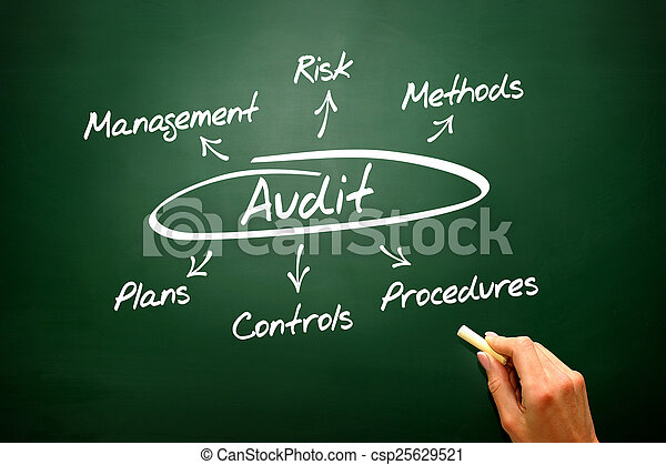 Audit concept, diagram, presentation background    - csp25629521