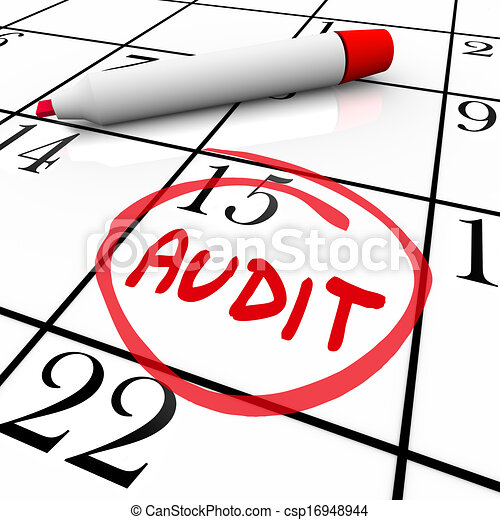 Audit Financial Budget Book Keeping Tax Day Date Calendar - csp16948944