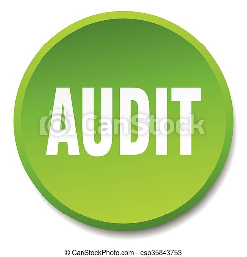 audit green round flat isolated push button - csp35843753