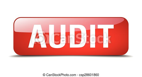 audit red square 3d realistic isolated web button - csp28601860