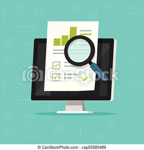 Audit research on computer vector illustration, flat cartoon paper financial report data analysis on pc, concept of accounting analytics with graphs and charts, digital document success check clipart - csp55580489