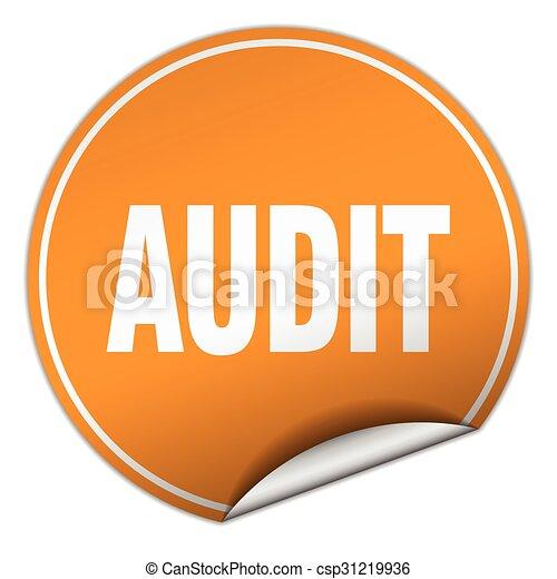audit round orange sticker isolated on white - csp31219936