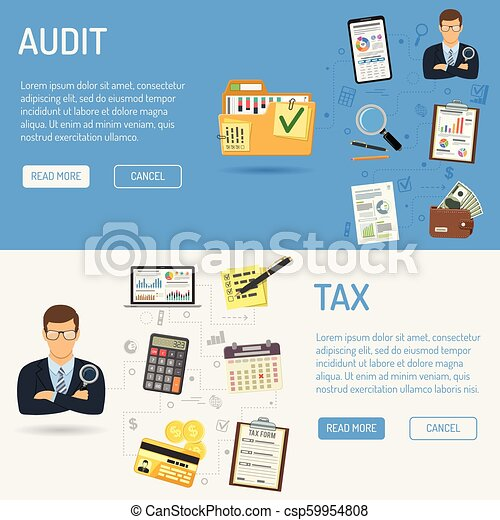 Auditing, Tax process, Accounting Banners - csp59954808